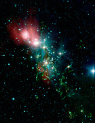 Located 1,000 light years from Earth in the constellation Perseus, a reflection nebula called NGC 1333 epitomizes the beautiful chaos of a dense group of stars being born. Spitzer Space Telescope.