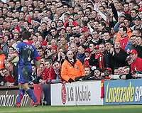Photo: Lee Earle.<br /> Liverpool v Manchester United. The FA Cup. 18/02/2006. United's Gary Neville gets abuse from the home fans.