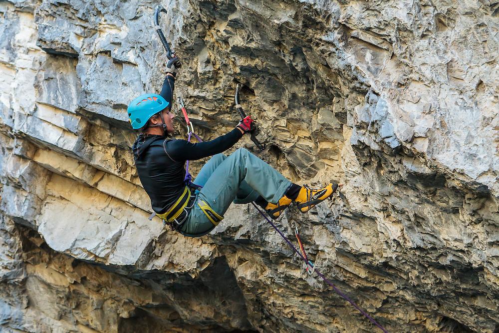 Sarah Hueniken climbing Swiss Cheese at the Playground