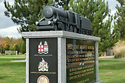 The Railway Industry Memorial at the National Memorial Arboretum, Croxall Road, Alrewas, Burton-On-Trent,  Staffordshire, on 29 October 2018. Picture by Mick Haynes.