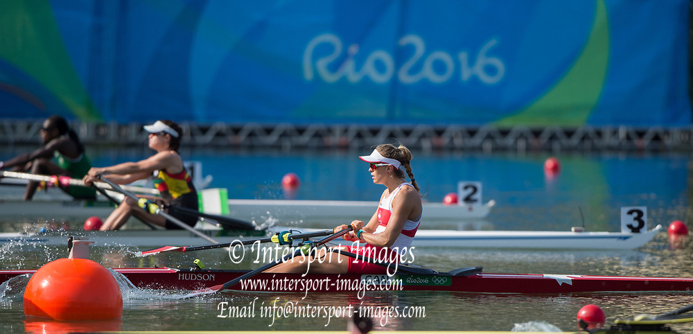 Rio de Janeiro. BRAZIL. CAN W1X, Carling SEEMEN, Women's Single Quarter Final.   2016 Olympic Rowing Regatta. Lagoa Stadium,<br /> Copacabana,  &ldquo;Olympic Summer Games&rdquo;<br /> Rodrigo de Freitas Lagoon, Lagoa.   Tuesday  09/08/2016 <br /> <br /> [Mandatory Credit; Peter SPURRIER/Intersport Images]