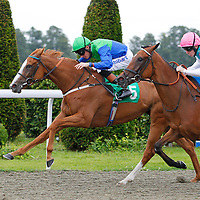 Caphira and Richard Hughes winning the 3.00 race