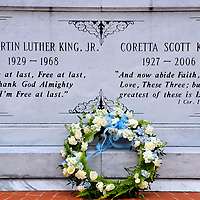 Martin Luther King Jr. Gravesite in Atlanta, Georgia<br /> Martin Luther King Jr. was assassinated in 1968. Two years later, his remains were moved from Southview Cemetery into a crypt as part of the Martin Luther King Center for Nonviolent Social Change. When Coretta Scott King died in 2006, she was laid to rest in this expanded tomb faced with white marble. The couple&rsquo;s gravesite is surrounded by a reflection pool and an eternal flame. Also part of the Martin Luther King Jr. Historic District is the former civil rights leader&rsquo;s boyhood home and the Ebenezer Baptist Church where he preached.