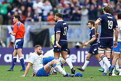 March 17, 2018 - Rome, Italy - Rugby NatWest 6 Nations: Italy v Scotland.The disappointment of Italy players at Olimpico Stadium in Rome, Italy on March 17, 2017. (Credit Image: © Matteo Ciambelli/NurPhoto via ZUMA Press)