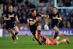 Sam Beard of Edinburgh Rugby drops the ball after being tackled - Photo mandatory by-line: Patrick Khachfe/JMP - Mobile: 07966 386802 01/05/2015 - SPORT - RUGBY UNION - London - The Twickenham Stoop - Edinburgh Rugby v Gloucester Rugby - European Rugby Challenge Cup Final
