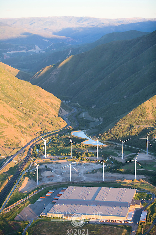 Wind farm at the mouth of Spanish Fork Canyon, Utah