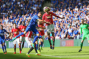 Marouane Fellaini Midfielder of Manchester United heads the ball clear during the FA Community Shield match between Leicester City and Manchester United at Wembley Stadium, London, England on 7 August 2016. Photo by Shane Healey.