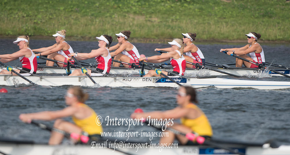 Rotterdam. Netherlands.  USA JW 4X. Bow.  Rose CARR, Molly MILLIGAN, Claire GRUNDIG and Jenna<br /> VAN DE GRIFT, <br /> 2016 JWRC,  {WRCH2016}  at the Willem-Alexander Baan.   Sunday  28/08/2016 <br /> <br /> [Mandatory Credit; Peter SPURRIER/Intersport Images]