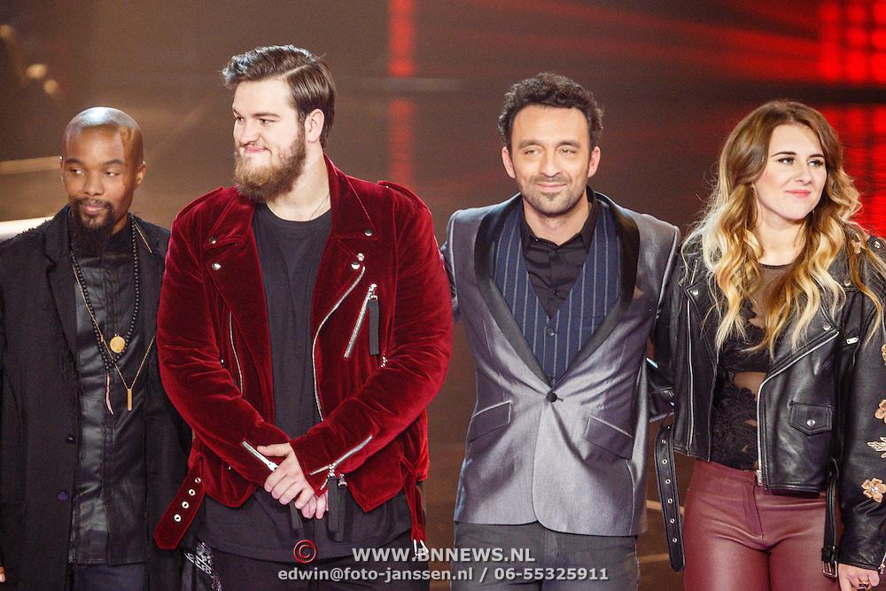 NLD/Hilversum/20160109 - 4de live uitzending The Voice of Holland 2015, Ivan Peroti, Dave Vermeulen Ivar Vermeulen en Melissa Jansen