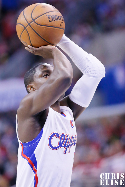 08 January 2014: Los Angeles Clippers point guard Darren Collison (2) is seen at the free throw line during the Los Angeles Clippers 111-105 victory over the Boston Celtics at the Staples Center, Los Angeles, California, USA.