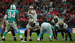 LONDON, ENGLAND - OCTOBER 01: New Orleans Saints quarterback Drew Brees (9) directs play during the NFL match between the Miami Dolphins and the New Orleans Saints at Wembley Stadium on October 1, 2017 in London, United Kingdom. (Photo by Mitchell Gunn/ESPA-Images) *** Local Caption *** Drew Brees