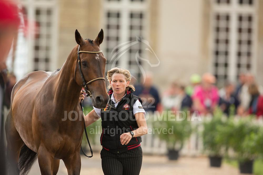 Karin Donckers, (BEL), Fletcha van t Verahof - First Horse Inspection  - Alltech FEI World Equestrian Games&trade; 2014 - Normandy, France.<br /> &copy; Hippo Foto Team - Dirk Caremans<br /> 25/06/14