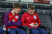 England Midfielder Eric Dier and England Goalkeeper Jordan Pickford during a general stadium walk around before the Slovenia vs England FIFA World Cup Group F Qualifier match at Stadion Stozce, Ljubljana, Slovenia on 10 October 2016. Photo by Phil Duncan.