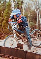 Chad Bruno practicing starts at the BMX track, sometime in the early 1980's.