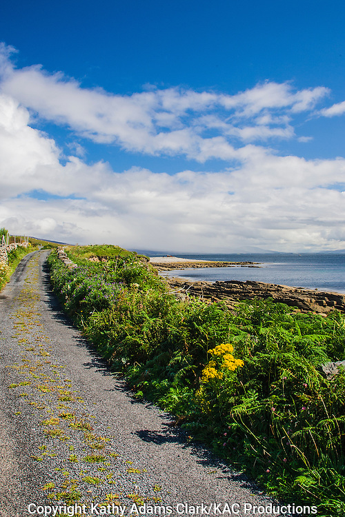 Coastline road on Clare Island off coast of western Ireland.