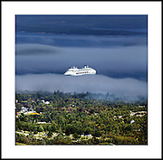 GHOST SHIP........A CRUISE LINER EMERGES FROM THE MIST AS IT ENTERS BAR HARBOUR, IN MAINE, NEW ENGLAND.<br />