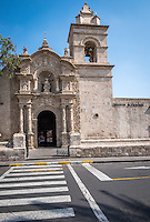 AREQUIPA, PERU - CIRCA APRIL 2014: View of the white church of Juan Bautista in Yanahuara.  Arequipa is the Second city of Perú by population with 861,145 inhabitants and is the second most industrialized and commercial city of Peru.