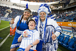 April 17, 2018 - Gent, BELGIUM - Buffalo Mel and Buffalo Ben pictured with Buffalo kid at the start of the Jupiler Pro League match between KAA Gent and KRC Genk, in Gent, Tuesday 17 April 2018, on day four of the Play-Off 1 of the Belgian soccer championship. BELGA PHOTO JASPER JACOBS (Credit Image: © Jasper Jacobs/Belga via ZUMA Press)