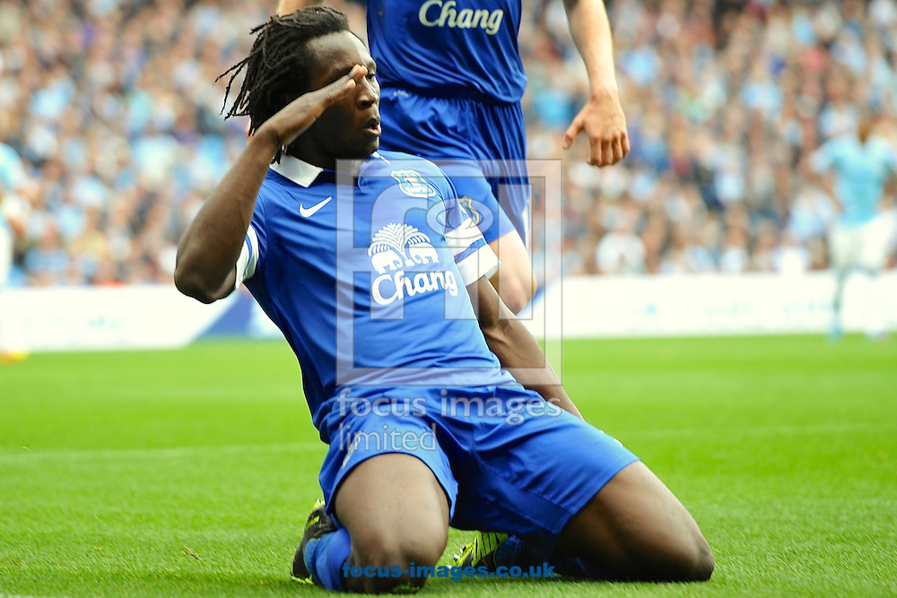 Picture by Ian Wadkins/Focus Images Ltd +44 7877 568959<br /> 05/10/2013<br /> Romelu Lukaku of Everton celebrates after scoring to make it 1-0 during the Barclays Premier League match at the Etihad Stadium, Manchester.