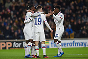 Michy Batshuayi (23) of Chelsea FC celebrating his team's first goal with Callum Hudson-Odio (20) of Chelsea FC during the The FA Cup match between Hull City and Chelsea at the KCOM Stadium, Kingston upon Hull, England on 25 January 2020.