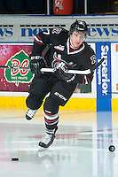 KELOWNA, CANADA -FEBRUARY 5: Brady Gaudet D #7 of the Red Deer Rebels enters the ice for warm up against the Kelowna Rockets on February 5, 2014 at Prospera Place in Kelowna, British Columbia, Canada.   (Photo by Marissa Baecker/Getty Images)  *** Local Caption *** Brady Gaudet;