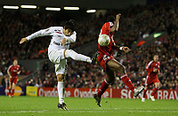 Photo: Paul Thomas/Sportsbeat Images.<br /> Liverpool v Besiktas. UEFA Champions League. 06/11/2007.<br /> <br /> Ibrahim Toraman (L) of Besitkas and Ryan Babel of Liverpool collide with the result ending in a goal.