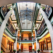 The interior of the Scarritt Arcade, an old office building in downtown Kansas City Missouri at 8th and Walnut, listed on the National Register of Historic Places