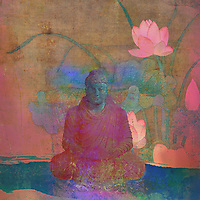 Buddha meditating in a lotus pond.