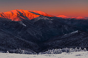 Main ridge of Balkan Mountains at sunrise in winter time