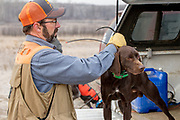 John Zeman gets ready to hunt pheasants on a Minnesota public hunting area with his German Shorthair Willy.
