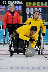 Haito Wang, Guangqin Xu, Angie Malone, Wheelchair Curling Finals at the 2014 Sochi Winter Paralympic Games, Russia