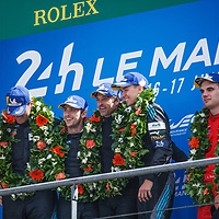 Podium GTE AM: 1. Dempsey-Proton Racing, #77, Porsche, 2. Spirit of Race, #54, Ferrari, 3. Keating Motorsports #85, Ferrari, on 17/06/2018 at the 24H of Le Mans, 2018
