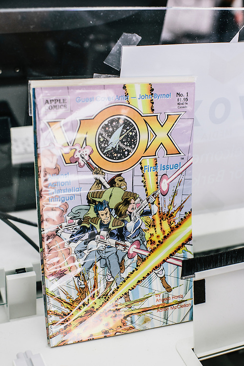 "A comic book with the title ""VOX"" sits next to the desk of editor-in-chief at VOX, Ezra Klein."