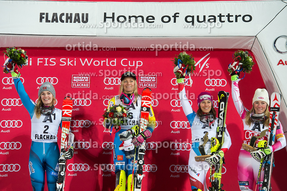 Nina Loeseth (NOR), Frida Hansdotter (SWE), Wendy Holdener (SUI) and Mikaela Shiffrin (USA) during the 7th Ladies' Slalom of Audi FIS Ski World Cup 2016/17, on January 10, 2017 at the Hermann Maier Weltcupstrecke in Flachau, Austria. Photo by Martin Metelko / Sportida