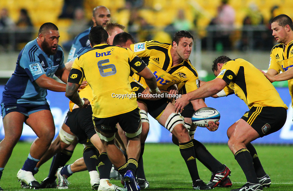 Hurricanes' lock Jeremy Thrush sets up a maul during their Super Rugby match, Hurricanes v Blues, Westpac stadium, Wellington, New Zealand. Friday 4 May 2012.  PHOTO: Grant Down / photosport.co.nz
