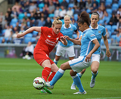 MANCHESTER, ENGLAND - Sunday, August 30, 2015: Liverpool's Natasha Dowie and Manchester City's Demi Stokes during the League Cup Group 2 match at the Academy Stadium. (Pic by Paul Currie/Propaganda)