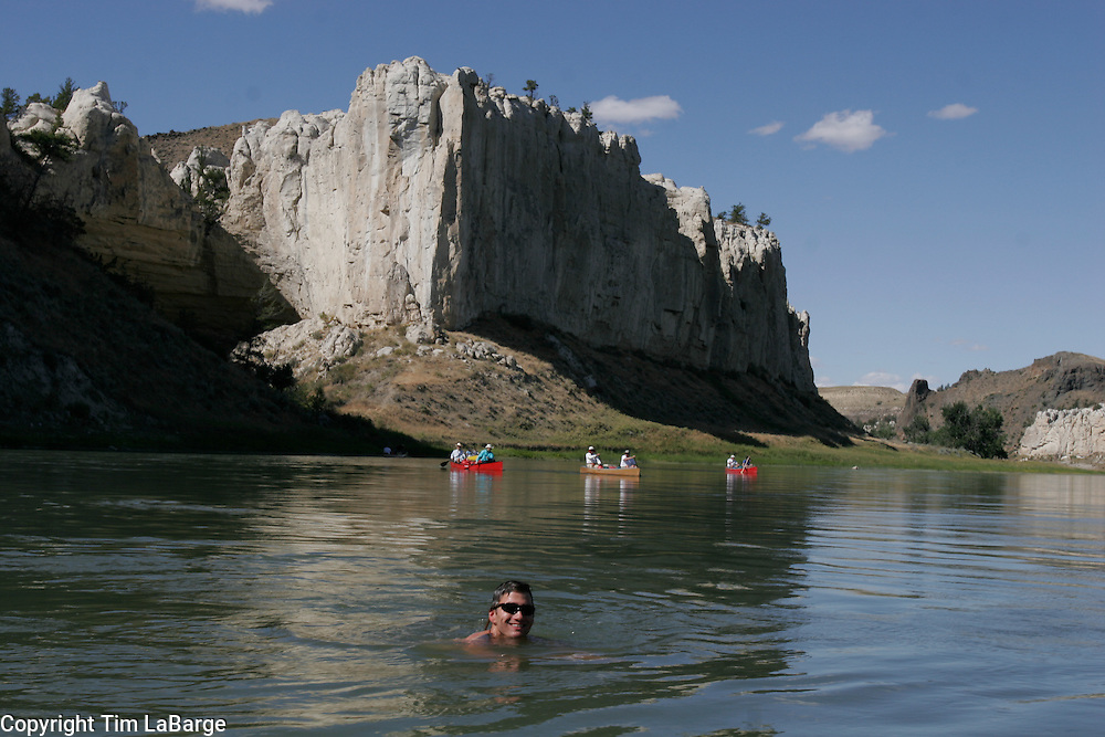 Canoeists paddle the Wild and Scenic Missouri River through Eastern Montana between Fort Benton, Mont. and the Fred Robinson Bridge in August 2006.