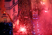 Croatia team bus and fans during the parade