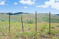 Fence along high desert hills on spring day Umptanum Ridge Eastern Washington USA