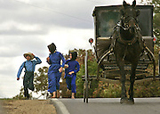 Amish children hold their hats in brisky weather while running along Hwy 33 near Ontario Tuesday, Oct, 9, 2007.JEFFREY PHELPS/JPHELPS@JOURNALSENTINEL.COM