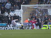Dundee keeper Kyle Letheren has plenty back up from team-mates as he saves from St Mirren's Jason Naismith - St Mirren v Dundee, SPFL Premiership at St Mirren Park<br /> <br />  - © David Young - www.davidyoungphoto.co.uk - email: davidyoungphoto@gmail.com