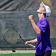 Jordan Lyden, of Desert Hills celebrates a point on his way to winning the state 3A tennis singles championship over Hong Pei Lu of Juan Diego at the BYU Tennis courts in Provo, Utah, Saturday, May 15, 2010 . August Miller, Deseret News .
