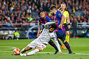 Barcelona forward Luis Suárez (9) tussles with Liverpool striker Mohamed Salah (11) during the Champions League semi-final leg 1 of 2 match between Barcelona and Liverpool at Camp Nou, Barcelona, Spain on 1 May 2019.