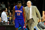 Feb. 9, 2011; Cleveland, OH, USA; Detroit Pistons point guard Will Bynum (12) gets an ear full from head coach John Kuester during the fourth quarter against the Cleveland Cavaliers at Quicken Loans Arena. The Pistons beat the Cavaliers 103-94 for Cleveland's 26th loss in a row. Mandatory Credit: Jason Miller-US PRESSWIRE