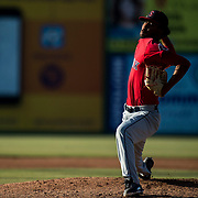LYNCHBURG, VA - JULY 7: Roniel Raudes delivers a pitch in the 2nd inning on Friday, July 7, 2017 in Lynchburg, Va. (Photo by Jay Westcott/The News & Advance)