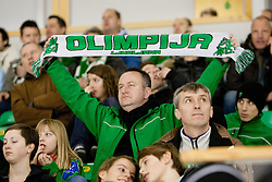 Fan of HDD Tilia Olimpija during ice-hockey match between HDD Tilia Olimpija and Moser Medical Graz 99ers in 42nd Round of EBEL league, on Januar 15, 2012 at Hala Tivoli, Ljubljana, Slovenia. HDD Tilia Olimpija defeated Moser Medical Graz 99ers 4:2. (Photo By Matic Klansek Velej / Sportida)