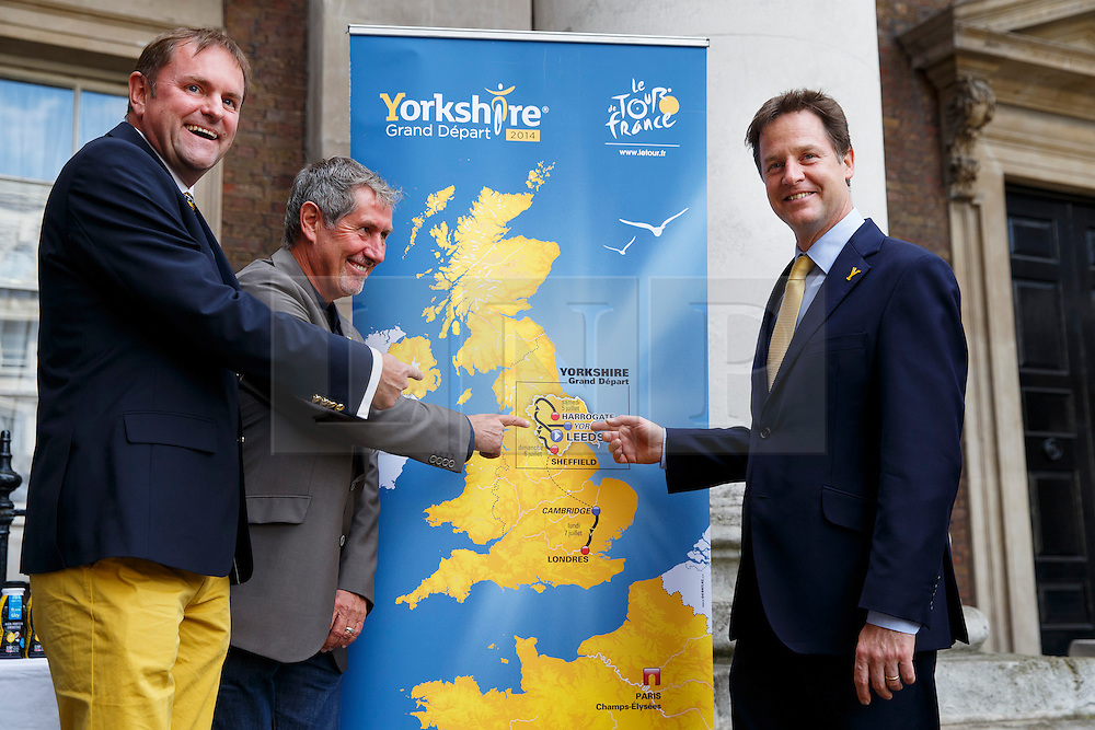 © Licensed to London News Pictures. 18/06/2014. LONDON, UK. The Deputy Prime Minister, Nick Clegg holds a reception ahead of the Grand Départ of the Tour de France as he hosts organisers from the three UK stages of the Tour, businesses on the route, representatives of Team Sky and their sponsors, British bike manufacturers and school children with an interest in cycling in Westminster, London on Wednesday, 18 June 2014. Photo credit : Tolga Akmen/LNP