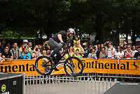 LONDON UK 30TH JULY 2016:  Danny MacAskill Southbank Festival Zone . The Prudential RideLondon FreeCycle event over closed roads around the city. Prudential RideLondon in London 30th July 2016.<br /> <br /> Photo: Jon Buckle/Silverhub for Prudential RideLondon<br /> <br /> Prudential RideLondon is the world's greatest festival of cycling, involving 95,000+ cyclists – from Olympic champions to a free family fun ride - riding in events over closed roads in London and Surrey over the weekend of 29th to 31st July 2016. <br /> <br /> See www.PrudentialRideLondon.co.uk for more.<br /> <br /> For further information: media@londonmarathonevents.co.uk