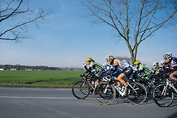 Sheyla Gutierrez leads the peloton through the early kilometres - 2016 Omloop het Nieuwsblad - Elite Women, a 124km road race from Vlaams Wielercentrum Eddy Merckx to Ghent on February 27, 2016 in East Flanders, Belgium.