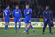 AFC Wimbledon midfielder Dylan Connolly (16) clapping during the The FA Cup match between AFC Wimbledon and West Ham United at the Cherry Red Records Stadium, Kingston, England on 26 January 2019.